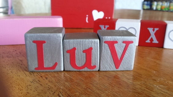 Kid Business: LUV wood blocks for Valentine's Day Decor